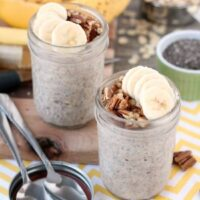 Bananas, cinnamon, and pecans combine in these overnight oats to create a delicious banana bread inspired, protein-packed breakfast.