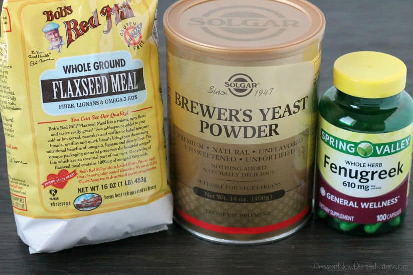 Milk boosting ingredients - flaxseed, brewer's yeast, and fenugreek.
