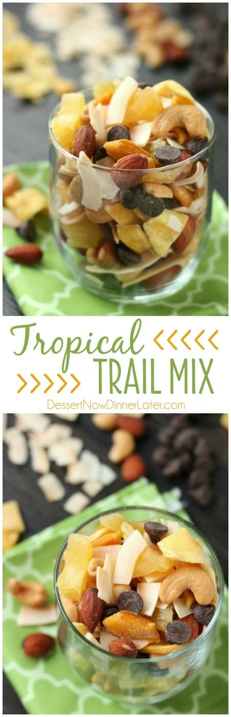 This Tropical Trail Mix is salty, sweet, and full of Sunsweet tropical flavors! A great on-the-go snack!