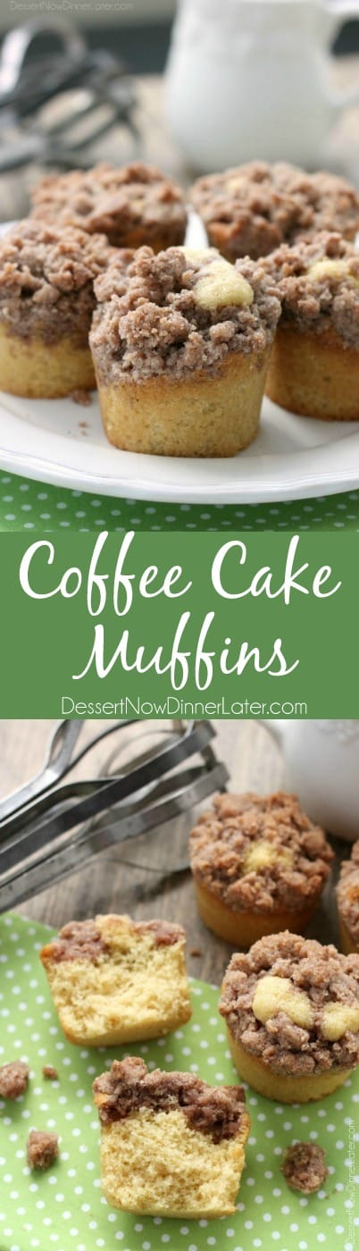 These coffee cake muffins have a moist, buttery yellow cake, and are topped with lots of crunchy, sweet cinnamon streusel.