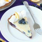Just like key lime pie, this creamy lemon and blueberry pie has a buttery graham cracker crust and a zesty (Meyer lemon) citrus cream filling, with the added bonus of plump blueberries. Top it with fresh whipped cream and you've got a delicious fruity dessert!