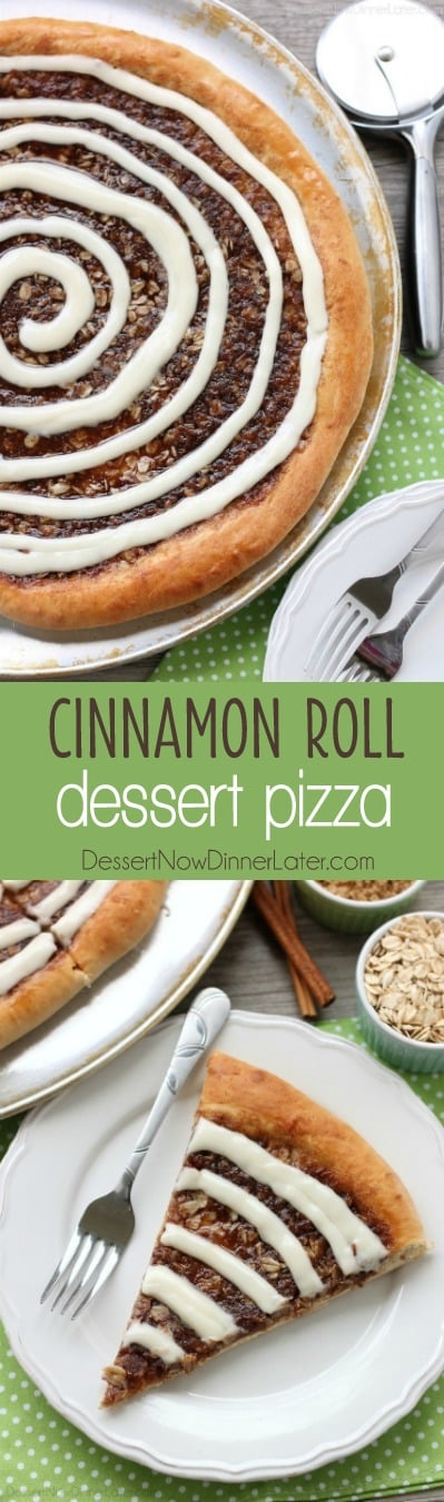 This Cinnamon Roll Dessert Pizza is an amazing copycat version of Papa Murphy's Cinnamon Wheel, with brown sugar, cinnamon, and oats, topped with a tangy cream cheese icing.