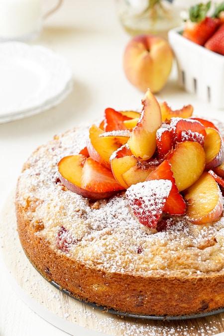 Strawberry Peach Coffee Cake