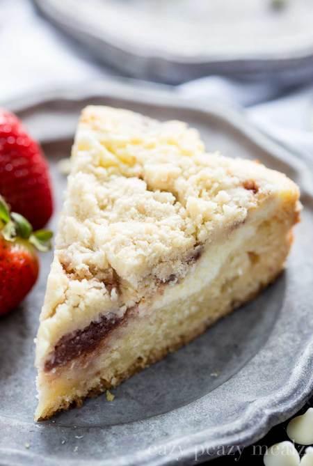 White Chocolate Strawberry Cream Cheese Coffee Cake