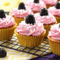 Blackberry Piña Colada Cupcakes - Moist coconut cupcakes with a sweet pineapple and rum filling topped with fresh blackberry frosting. A delicious drink inspired cupcake with a twist!