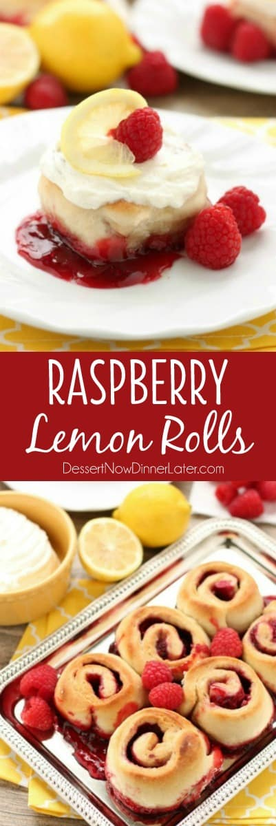 Sticky Raspberry Lemon Rolls are made easy with frozen dough and are topped with a sweet and citrusy lemon cream cheese frosting.