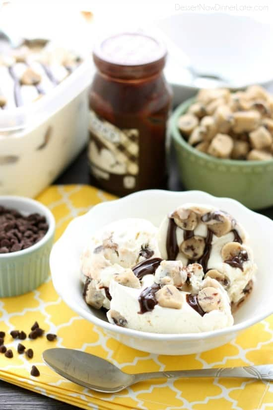 This no churn chocolate chip cookie dough ice cream has generous pieces of eggless cookie dough inside a creamy vanilla ice cream with hot fudge swirls. No ice cream machine needed to make this delicious dessert!