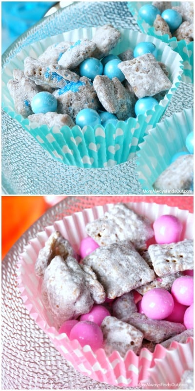 Muddy Buddies are always a crowd favorite, so these adorable pink and blue ones are the perfect baby shower food. Image from Mom Always Finds Out.