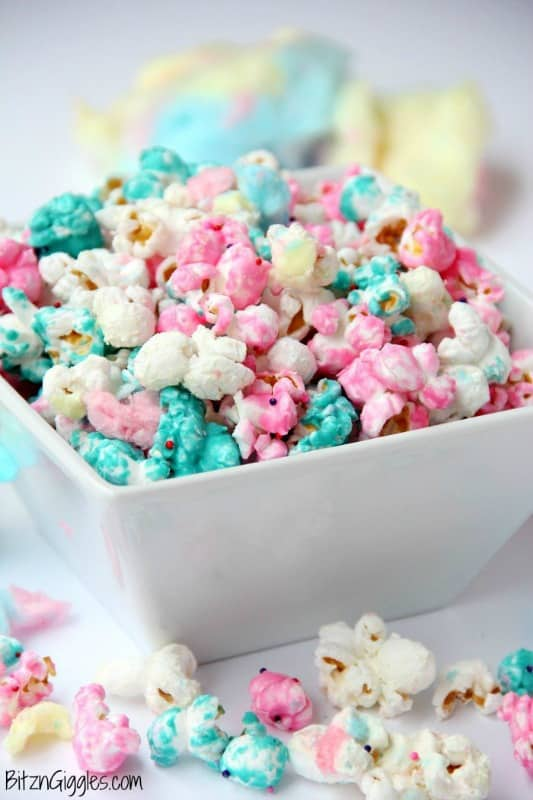 Everyone will love this COTTON CANDY POPCORN that's poppin' with vibrant pink and blue colors. Image from Bitz & Giggles.