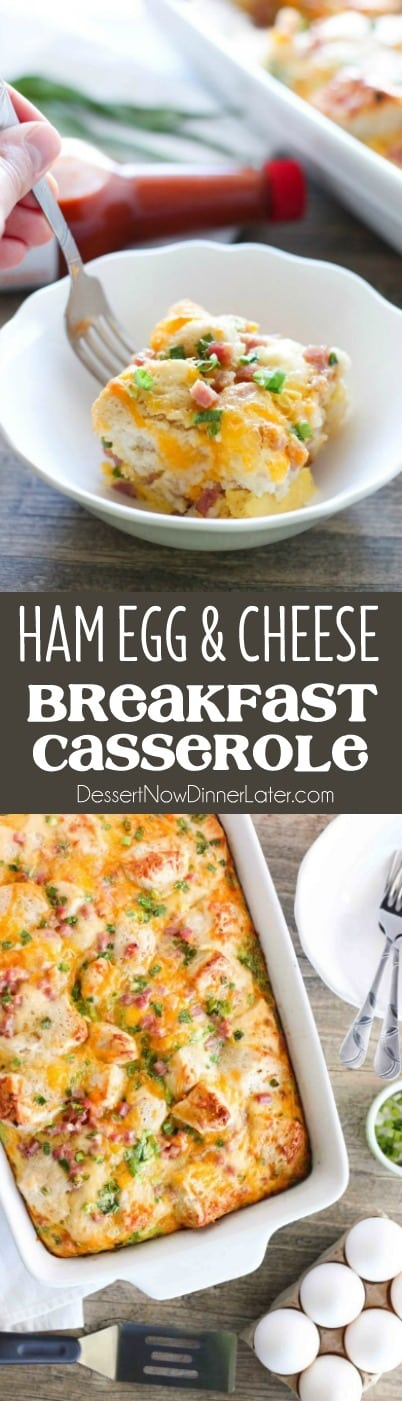 This hearty breakfast casserole is made with ham, eggs, cheese, and tender buttermilk biscuits. Make it ahead of time or bake it right away, for a breakfast ready when you are.