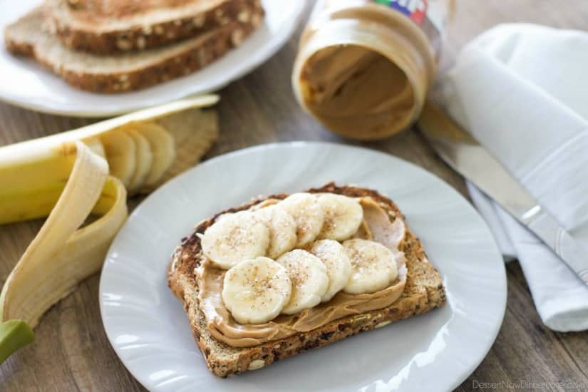 Enjoy peanut butter for breakfast and on-the-go with these quick and tasty ideas! (Peanut Butter Toast with Bananas and Cinnamon)