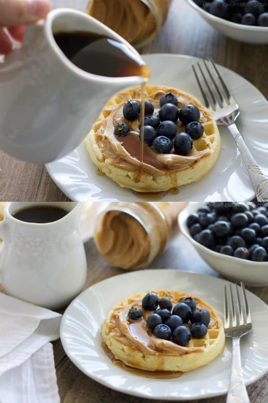 Enjoy peanut butter for breakfast and on-the-go with these quick and tasty ideas! (Waffles with peanut butter, fruit, and syrup.)