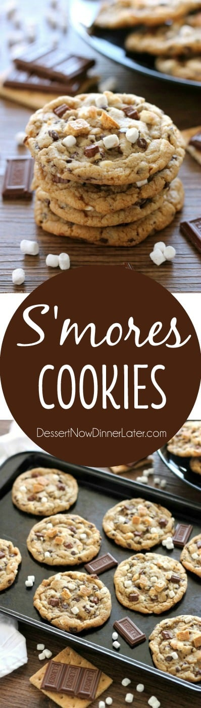 These S'mores Cookies are made with a graham cracker cookie dough, miniature chocolate chips, and marshmallows bits for a great alternative to campfire s'mores that is equally as tasty.