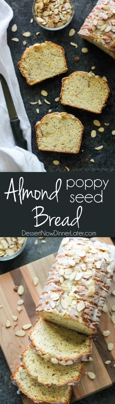This Almond Poppy Seed Bread recipe has a sweet almond flavor inside and out, and is perfectly moist and delicious.
