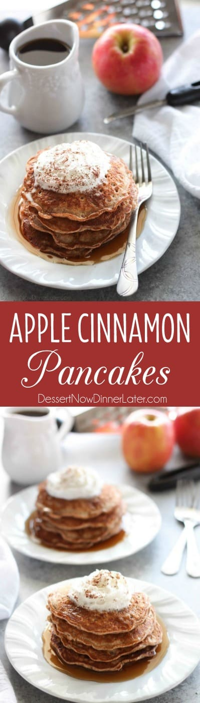 Real apple pieces and a hearty helping of cinnamon turn regular pancakes into these simple, yet special Apple Cinnamon Pancakes.
