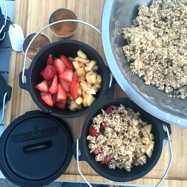 Personal Dutch Oven Strawberry & Apple Crisps.