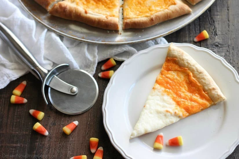 Candy Corn Pizza is a fun and easy idea for Halloween dinner -- even the kids can make it!