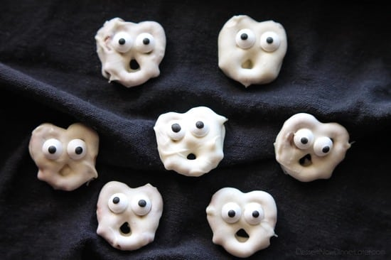 Ghost Pretzels - White chocolate dipped pretzels are made into ghosts with candy eyes and a little bit of imagination.
