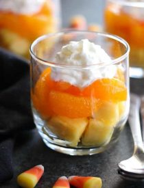 These layered fruit parfaits are a fun and festive, healthy candy corn treat for Halloween!