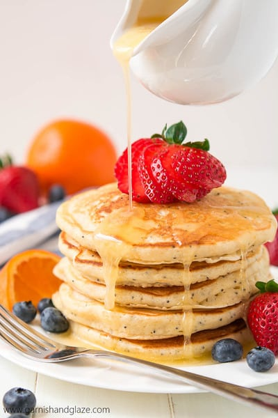 Orange Poppy Seed Pancakes // Garnish and Glaze