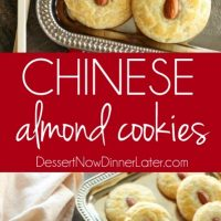 Chinese Almond Cookies are simple, crisp, buttery, and full of almond flavor. Save this recipe for Chinese New Year!