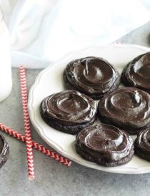 Fudgy dark chocolate sugar cookies are frosted with a creamy chocolate buttercream frosting. Inspired by Swig's Dirtball Cookie, these frosted chocolate sugar cookies are sure to be a new favorite!