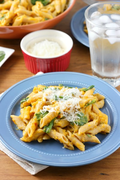 Creamy Butternut Penne with Spinach and Parmesan // A Kitchen Addiction