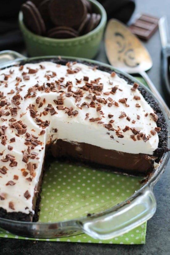Homemade chocolate pudding topped with sweetened whipped cream, all nestled inside a chocolate cookie crust, makes the most delicious no-bake Chocolate Pudding Pie.