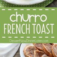 Churro French Toast - Thick slices of French bread are battered and pan fried, then dipped in cinnamon-sugar, and topped with a buttery cream cheese frosting. Delicious!