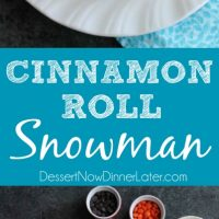 This Cinnamon Roll Snowman is a fun holiday food craft for kids and only takes two minutes to make!