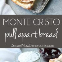 This Monte Cristo Pull Apart Bread is full of savory meats and melty cheese. It's topped with a dusting of powdered sugar and served with raspberry preserves. Works great as a breakfast, lunch, dinner, or appetizer!