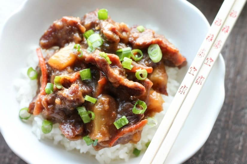 This Slow Cooker Mongolian Beef & Pineapple is a little spicy, a little sweet, full of authentic Asian flavors, and is so easy to make!