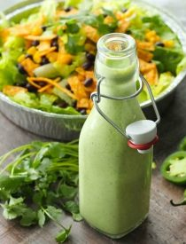 This Cafe Rio Style Cilantro Ranch Dressing is tangy, super creamy, and has a just the right kick of jalapeño. You'll want to put it on everything!