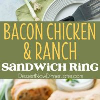 This Bacon Chicken Ranch Sandwich Ring makes a great dinner or party appetizer! It's meaty, cheesy, and full of flavor!