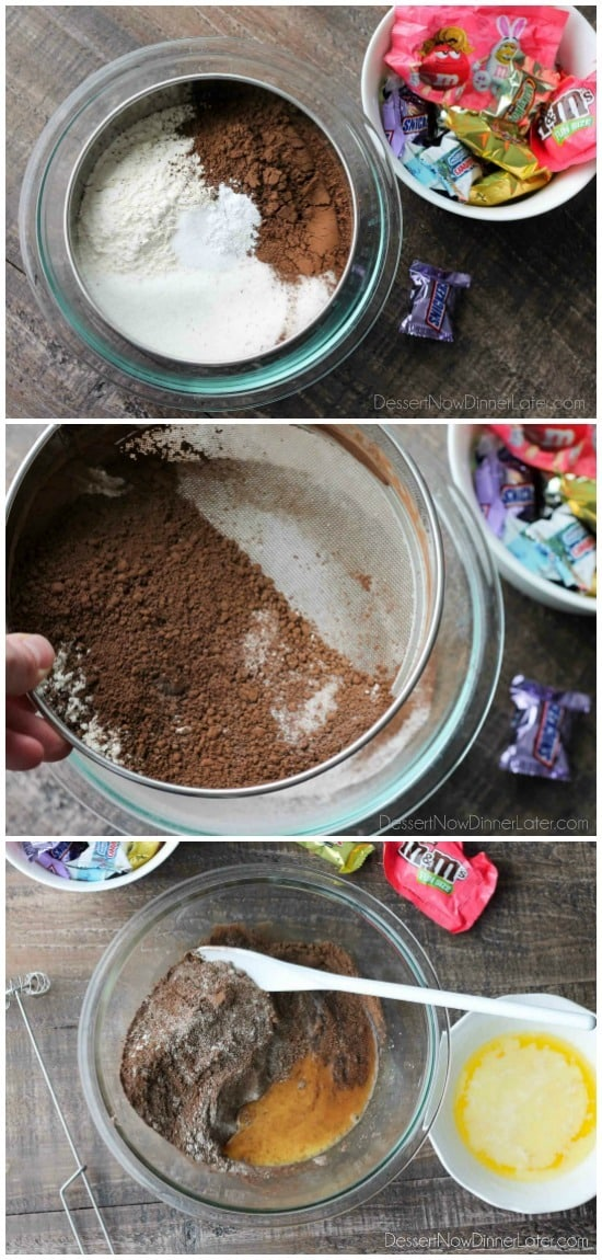 How to make candy bar brownies.