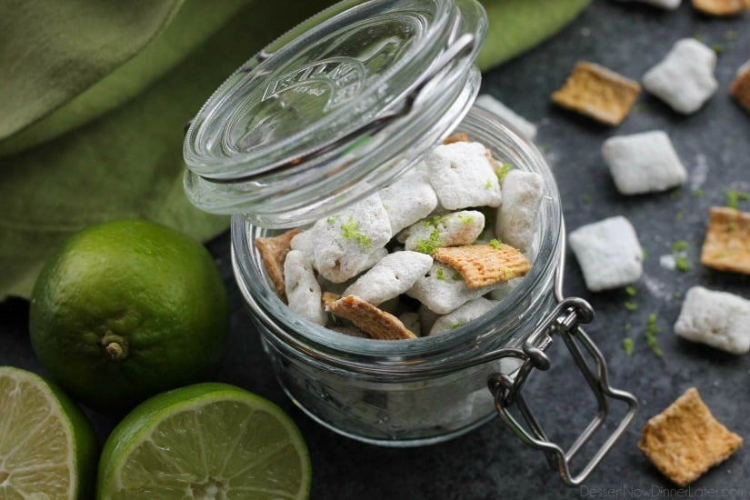 Key Lime Muddy Buddies are inspired by the flavors of a classic key lime pie. They're tangy and sweet, with graham cracker cereal pieces throughout. Perfect for parties or movie night snacking!
