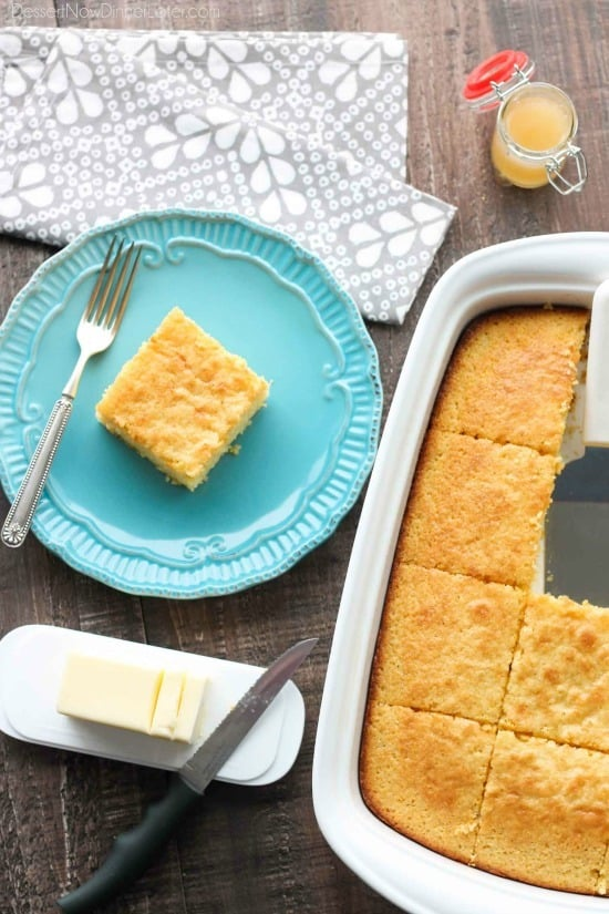 This is the BEST sweet corn bread recipe! It's sweet, moist, buttery, and light thanks to an additional technique. It will quickly become your favorite sweet corn bread recipe!