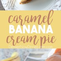 This Caramel Banana Cream Pie is heavenly and so easy to make! With caramel and freshly sliced bananas on the bottom of a homemade graham cracker crust, and a rich, creamy pudding layer on top, this banana cream pie is sure to be your new favorite dessert!