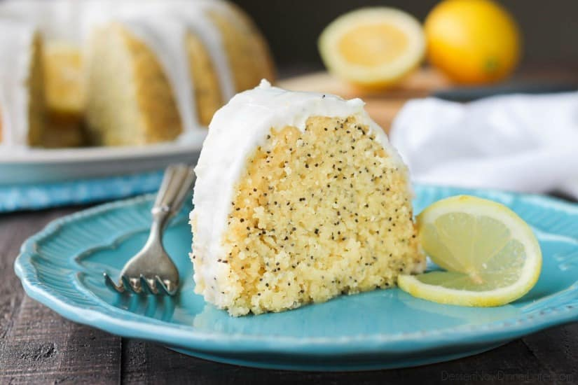 Lemon Poppy Seed Bundt Cake is perfectly moist, full of citrus flavor, and topped with a zesty lemon glaze.
