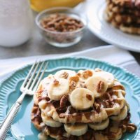 Banana Nut Cinnamon Roll Waffles