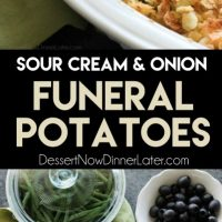These funeral potatoes are creamy and cheesy, with sour cream, onions, extra spices, and a crunchy potato chip topping. Always a hit, this cheesy potato casserole will get gobbled up quick! Great for potlucks and holidays.