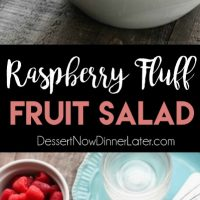 Raspberry Fluff Fruit Salad is the jello salad that everyone loves! With only 4-ingredients and 5 minutes prep, this is the perfect sweet side dish for your next potluck, picnic, or BBQ!
