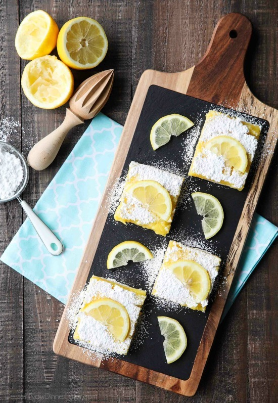 These classic lemon bars are extra tangy, perfectly sweet, and super easy to make. This is the ultimate lemon lovers' recipe!