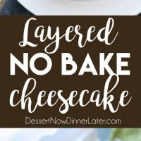 This no bake cheesecake has two layers of light and smooth cheesecake -- creamy vanilla and decadent chocolate, layered inside a chocolate cookie crust, and topped with sweetened whipped cream and chocolate shavings. It's an easy and delicious summer dessert!
