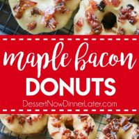 Maple Bacon Donuts are breakfast perfection! The salty bacon cuts through the sweetness of the maple and brown sugar glaze on top of a fluffy yeast donut.