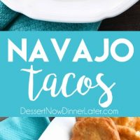 These easy Navajo Tacos (also known as Indian Fry Bread) are quick to whip up for dinner, smothered with a beef and bean taco filling, and finished with all the classic taco toppings. A fair food favorite made easily at home!