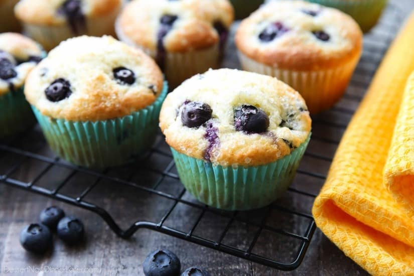These Blueberry Muffins are so easy to make! With plump blueberries throughout and coarse sugar sprinkled on top, you'll love nibbling on these tasty muffins for breakfast (or brunch)!