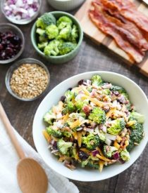 This Broccoli Salad recipe is our favorite! It's creamy, sweet, and salty, with the just the right amount of crunch. A great side dish for barbecues, potlucks, picnics or parties. Everyone loves this salad!