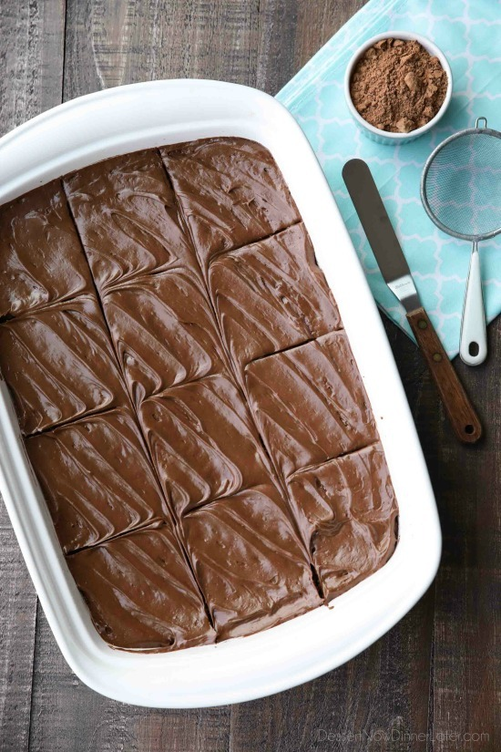 Chocoholics NEED these Frosted Fudge Brownies! Super fudgy homemade brownies are topped with a smooth and creamy fudge chocolate frosting for ultimate chocolate pleasure. Great for lunch box treats, dessert, or anytime!