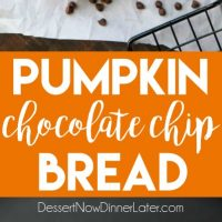 This Pumpkin Chocolate Chip Bread recipe makes two loaves and uses one full can of pumpkin. Save one loaf for you and take the other to a friend, or freeze the second loaf to enjoy later on. This bread is simple, classic, and delicious!(+ RECIPE VIDEO)